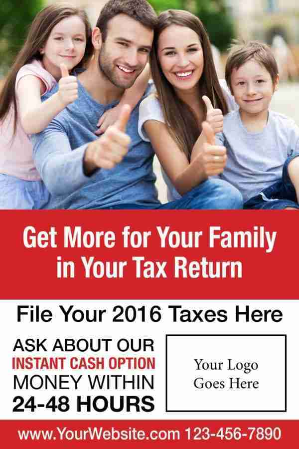 tax poster template 02 red