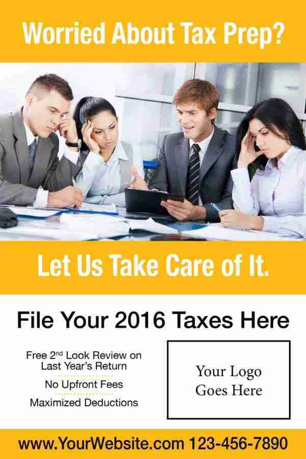 tax poster template 07 yellow